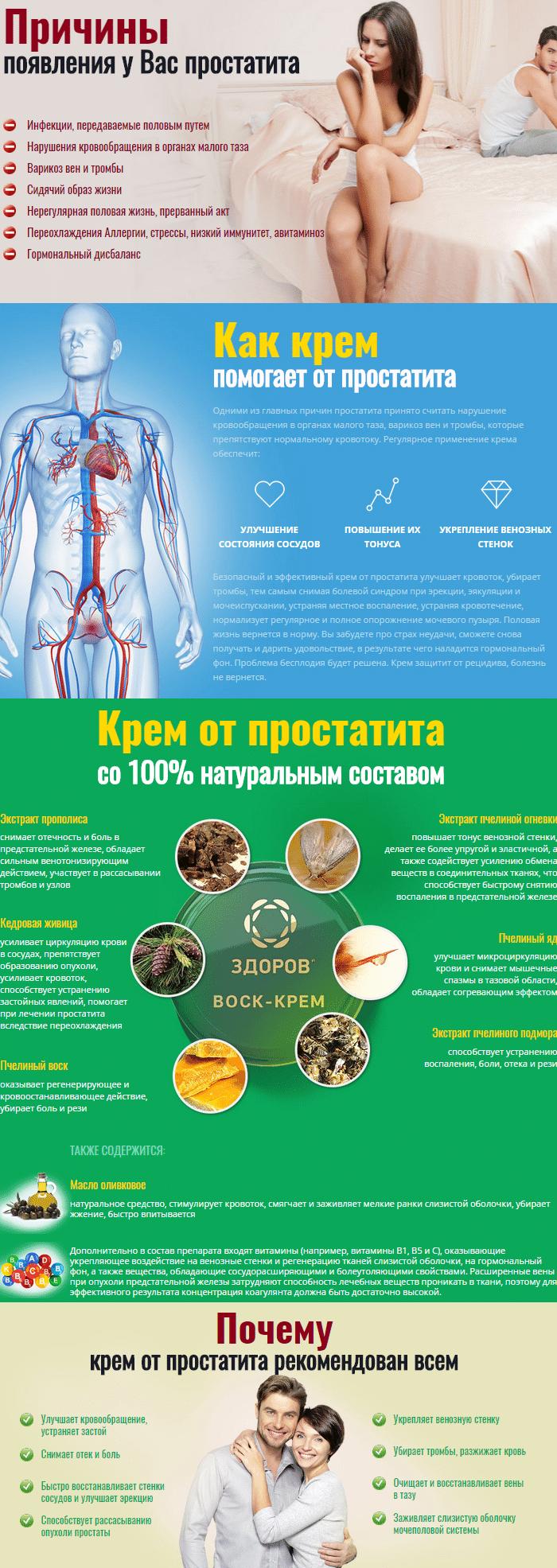 Крем «Здоров» от простатита - фото Крем «Здоров» от простатита