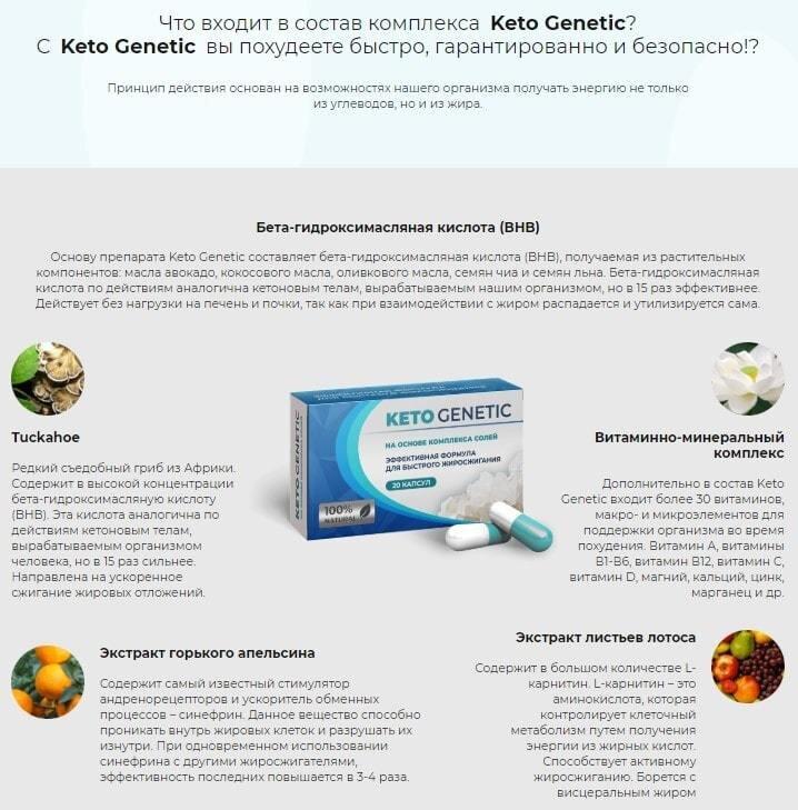 Капсулы для похудения Keto Genetic (Кето Генетик) - фото состав капсул Кето Генетик