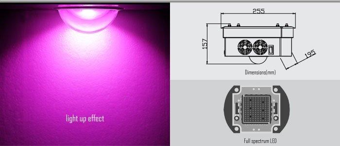 Мощная фитолампа полный спектр на высокоэффективнойматрицыBridgelux 150 Вт - фото фитолампа полного спектра 150 ВТ
