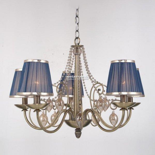Подвесные светильники с абажурами из ткани - фото Классическая люстра на 5 ламп Античная бронза