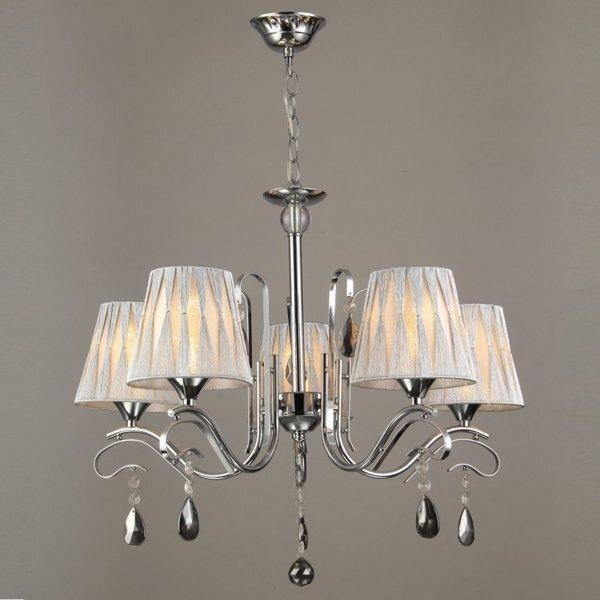 Подвесные светильники с абажурами из ткани - фото Подвесная классическая люстра на 5 абажуров