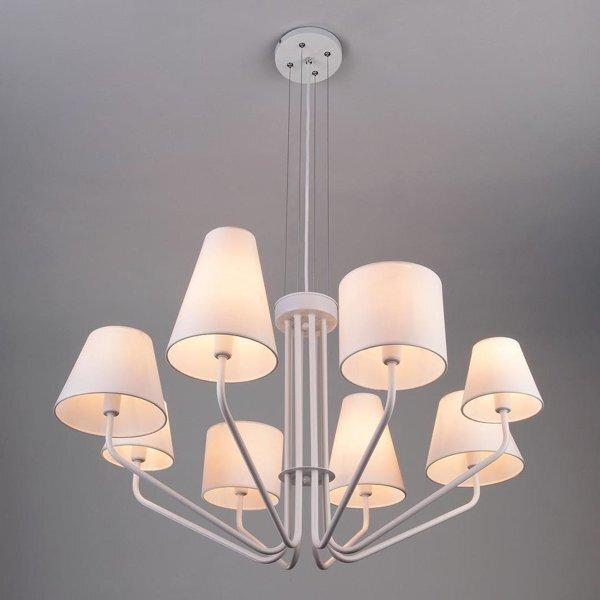 Подвесные светильники с абажурами из ткани - фото Люстра в стиле Лофт на 8 ламп белая с абажурами