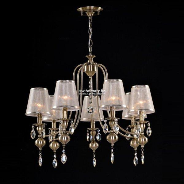 Подвесные светильники с абажурами из ткани - фото Классическая люстра на 7 абажуров Античная бронза (Antique Bronze)