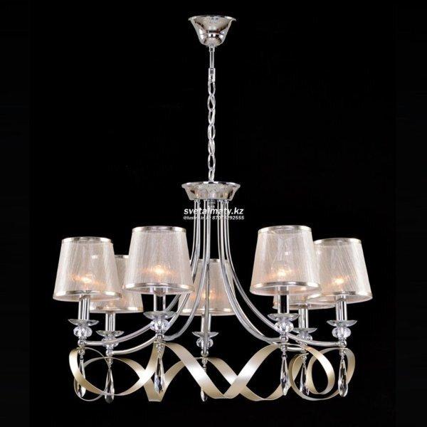 Подвесные светильники с абажурами из ткани - фото Люстра подвесная 7-ми ламповая серебряная с хрусталем в Классическом стиле